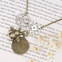 Steampunk Bee / Gears Necklace