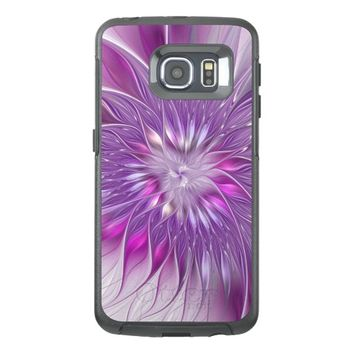 Pink Flower Passion Abstract Fractal Art OtterBox Samsung Galaxy S6 Edge Case