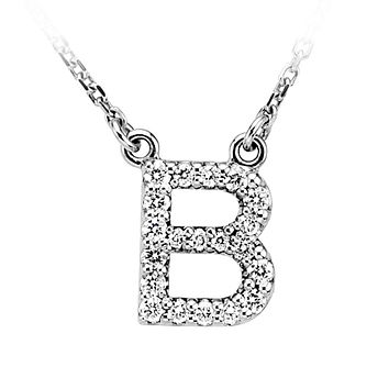 1/6 Cttw G-H, I1 Diamond initial Necklace in 14k White Gold, Letter B