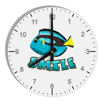 """Blue Tang Fish - Smile 8"""" Round Wall Clock with Numbers"""