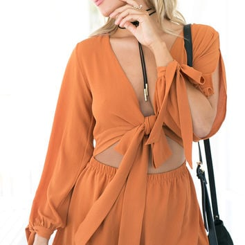 TRANQUIL PLAYSUIT (BURNT ORANGE)