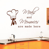 Kitchen Wall Decal Quote Meals And Memories Are Made Here Vinyl Stickers Family Home Art Mural Cafe Interior Design Dining Room Decor M1011