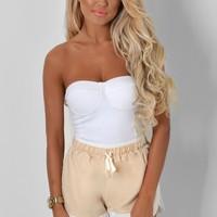 Hartlyn Nude & White Twin Pocket Shorts   Pink Boutique