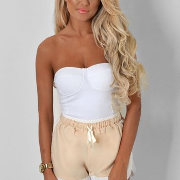 Hartlyn Nude & White Twin Pocket Shorts | Pink Boutique