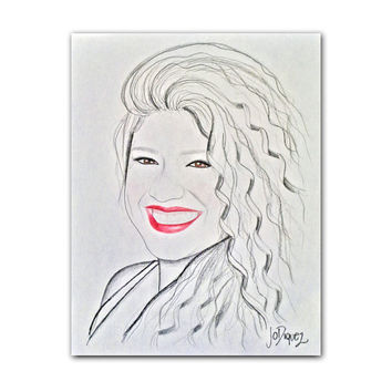 """Custom made portrait in paper with pencil and a touch of color. 11x14"""""""