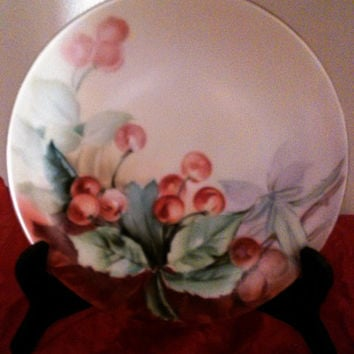 D & Co France Limoges Antique Hand Painted Plate With Cherries