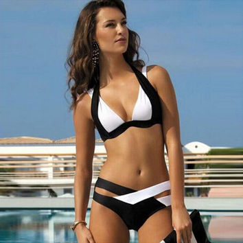 Black and White Split Sexy Bikini Push Up
