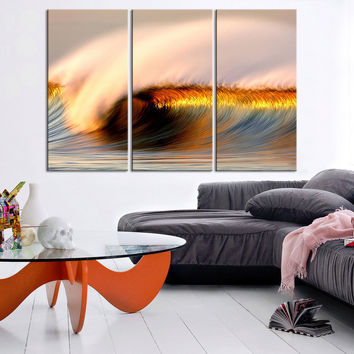 Large Size Framed 3 Panel Canvas Print - Great Wave and Sunlight Scenery Canvas Print - Ocean Wave Art Canvas Print