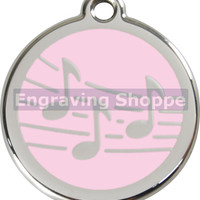 Music Notes Enamel and Stainless Steel Personalized Custom Pet Tag with LIFETIME GUARANTEE ID Tag Dog Tags and Cat Tags Free Engraving
