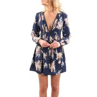 Floral Long Sleeved Boho Mini Dress