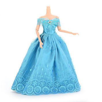 New 1 Pcs Handmade Clothes Dresses For Barbie Doll & Disney Princess Blue HUUS