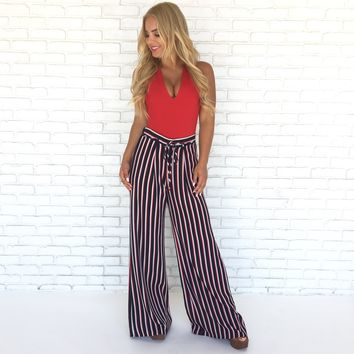 American Made Wide Leg Stripe Pants