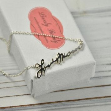 Cutout Handwriting necklace, Signature necklace