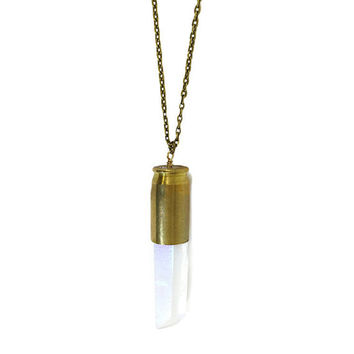 Bullet Necklace, Raw Stone Necklace, Quartz, Crystal Point, Angel Aura Rainbow Gemstone, Wire wrapped, Boho, Bohemian, Healing Crystal