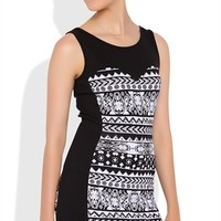 Tribal Print Bodycon Dress with Solid Paneling