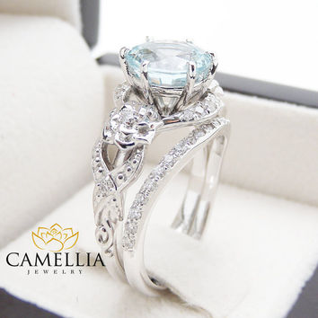 Unique Aquamarine Engagement Ring Set 14K White Gold 2 Carat Aquamarine Rings Art Deco Engagement Ring Floral Ring Set