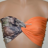 Camo and Denim Blaze Orange Bandeau Top, Swimwear Bikini Top, Twisted Top Bathing Suits, Blaze Orange Spandex Bandeau Bikini