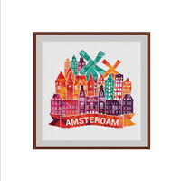 Amsterdam cross stitch, Holland cross stitch, Netherlands cross stitch, Geometric cross stitch, Triangles Cross stitch, Cross stitch pattern