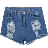 Blue Fringed Ripped Pockets Denim Shorts