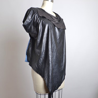 Goth Leather Top - Leather Top - Leather Clothing - Black Leather Top - Goth - Steampunk - Leather Tee