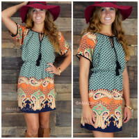 Bohemian Rhapsody Green Paisley Dress