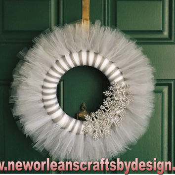 Winter Silver and White Tulle and Snowflake Wreath
