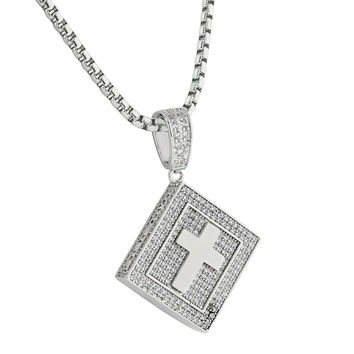 "Holy Bible Book Pendant Cross Charm 14k Gold Finish Lab Diamonds Stainless Steel 24"" Necklace"