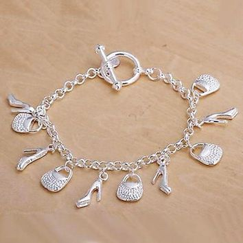 1pc Fashion Silver Plated Charms Shoe Bag Bracelet Jewelry Gift for Women