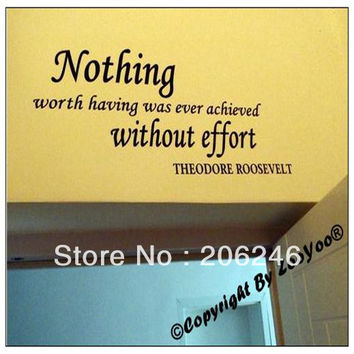 """""""Nothing Worth Having Was"""" Vinyl Wall Art Decals Stickers Home Decor SM6"""