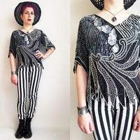 80s Clothing Beaded Top Sequin Top Glitzy Glam Top Vintage 80s Top Black and Silver Top Dressy Top Unique Top 80s Party Top Size Medium