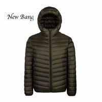 Men's Parkas Winter Coats Feather Hood With Buggy