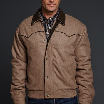 Wool Melton Snap Zip Front Jacket With Faux Leather Trim
