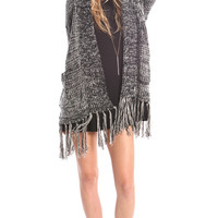 CHUNKY TWO TONE KNIT FRINGE HOODIE CARDIGAN