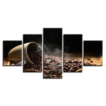 Canvas Pictures Home Decor HD Prints Posters 5 Pieces Coffee Beans Coffee Cup Paintings Kitchen Cafe Wall Art Modular Framework