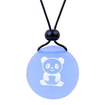 Amulet Frosted Sea Glass Stone Cute Lucky Baby Panda Bear Good Luck Powers Sky Blue Adjustable Necklace