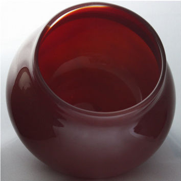 Small Closed Translucent Red Bowl, Hand Blown Glass Bowl - Free Shipping