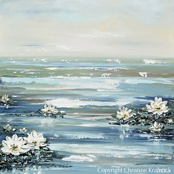 """ORIGINAL Art Abstract Water Lily Painting Textured Coastal Lotus Flowers Blue White Home Decor Wall Art 36x36"""""""
