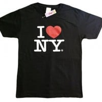 I Love NY New York Short Sleeve Screen Print Heart T-Shirt Black:Amazon:Clothing