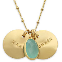 jenny present® | Gold Nameplate with Sea Green Chalcedony Necklace