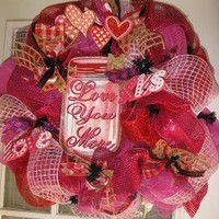 Valentine's Day Wreath Love Wreath Valentine Wreath in Pink and Red Love You More Wreath