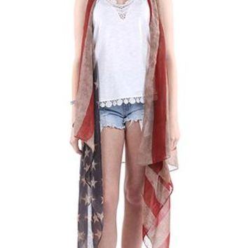 Vest Distressed American Flag Long Red White And Blue Stars And Stripes