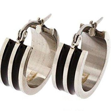 Ben and Jonah Stainless Steel Huggie Earring with 2 Black Oil Painted Channels