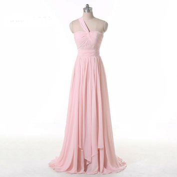 New Pink Chiffon Soft Bandage Dress Lady Office Formal Prom Dresses