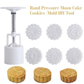 1Set Hand Pressure Moon Cake Cookies Mold DIY Tool With 6 Stamps Mid-autumn Festival forma de ABS para bolo