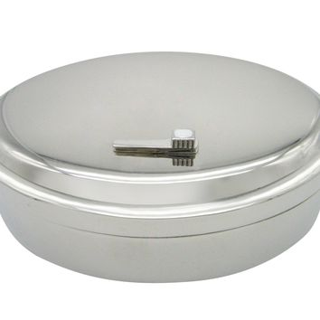Silver Toned Dental Tooth Brush Oval Trinket Jewelry Box