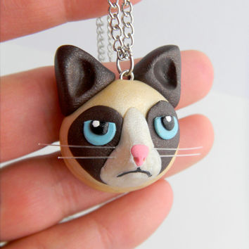 Grumpy Cat Necklace, Tardar Sauce, Tard, Internet Meme, Hand-made, Polymer Clay
