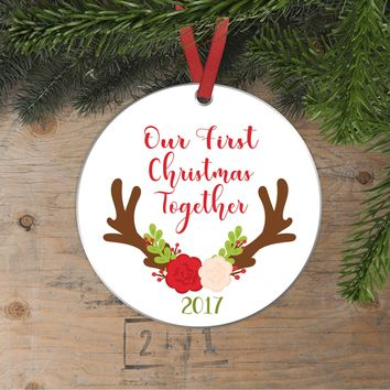 Our First Christmas Together Christmas Ornament - Our First Christmas Engaged Christmas Ornament Antlers Flowers Floral