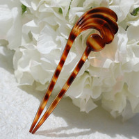 Vintage Hair Comb / Pick Pin, Tortoiseshell Lucite, Tortoise Shell Plastic, Wave, Designer FRANCE, 1970s Wedding Bridal Accessory
