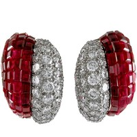 Van Cleef & Arpels Diamond Ruby Mystery-Set Ear Clips