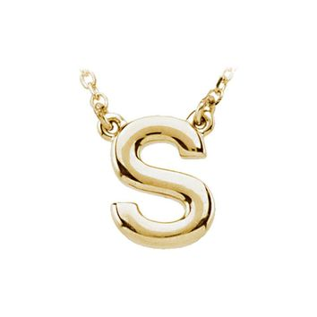 14K Yellow Gold, Kendall Collection, Block Initial S Necklace, 16 Inch
